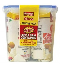 Gowardhan Cow Ghee 1L (Pack of 2) Pouch With Lock Seal Container